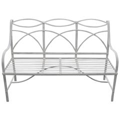 Garden Bench with Wrought-Iron Elements