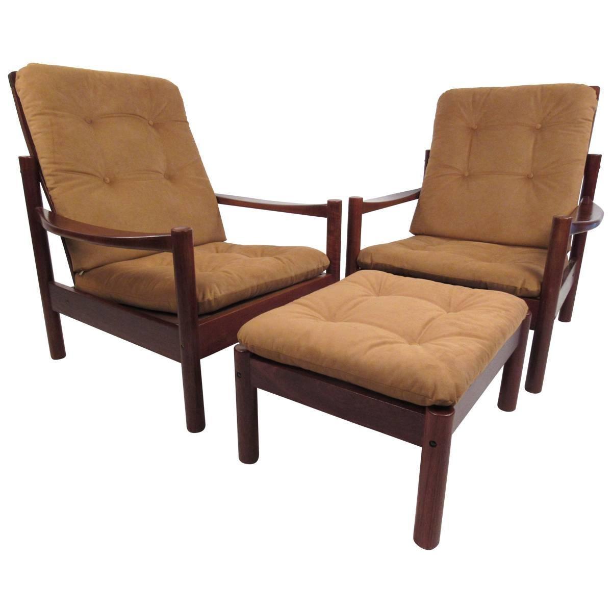 Pair Mid-Century Style Danish Teak Lounge Chairs with Ottoman