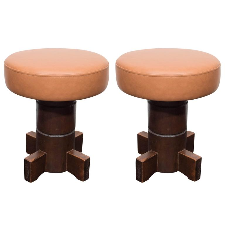 Vintage Mahogany Stools For Sale