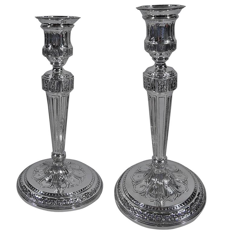Tiffany Neoclassical Sterling Silver Candlesticks