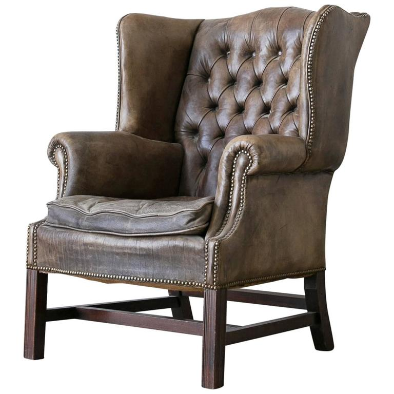 vintage chesterfield style leather wingback chair at 1stdibs. Black Bedroom Furniture Sets. Home Design Ideas