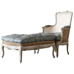 Louis XV Style Bergere Chair with Ottoman
