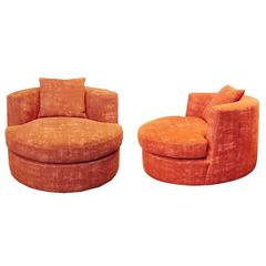 Pair of Upholstered Swivel Chairs Designed by Apsara Interior Design