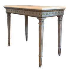 18th century hand-carved polychrome and giltwood Gustavian console table