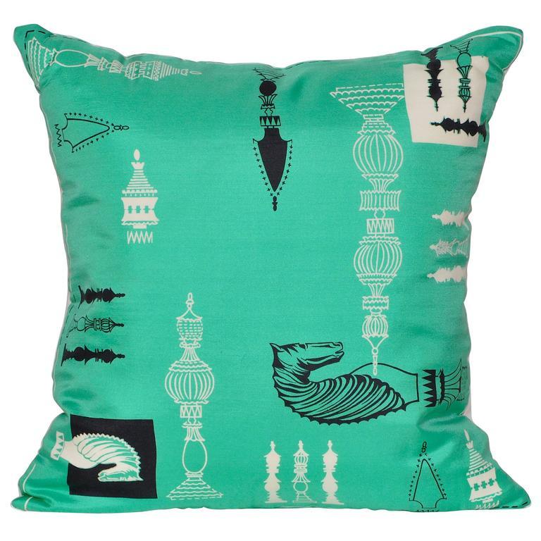 Vintage Liberty of London Green Print Silk Scarf and Irish Linen Cushion Pillow
