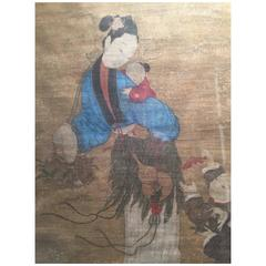 "Lovely Chinese 17thc Painting Immortal ""Spirit Brings a Male Child to House"""