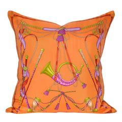 Vintage Valentino Orange Silk Scarf and Irish Linen Cushion Pillow