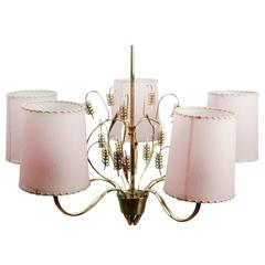 Finnish Chandelier by Paavo Tynell in Brass Glass and Parchment Shades, 1940s