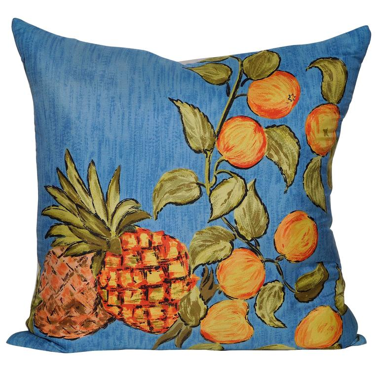 Vintage Liberty of London Pineapple Silk Scarf and Irish Linen Cushion Pillow 1