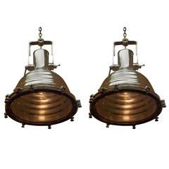 Pair of German Nautical Aluminum Hanging Ship Light, Wiska, 20th Century