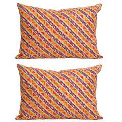 Vintage Liberty of London Orange Silk Scarf and Irish Linen Cushion Pillow