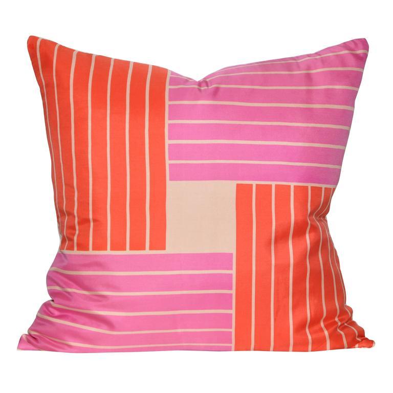 Vintage Jacqmar Pink Pop Art Silk Scarf and Irish Linen Cushion Pillow