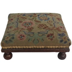Late Victorian Footstool Oak with Bun Feet Tapestry top, English Circa 1880