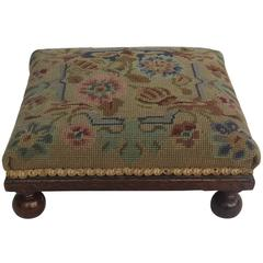 Late Victorian Footstool Oak with Bun Feet Tapestry top English, circa 1880