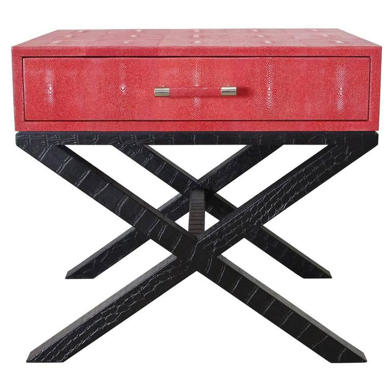 Pair of Italian Red Shagreen and Black Leather Side Tables