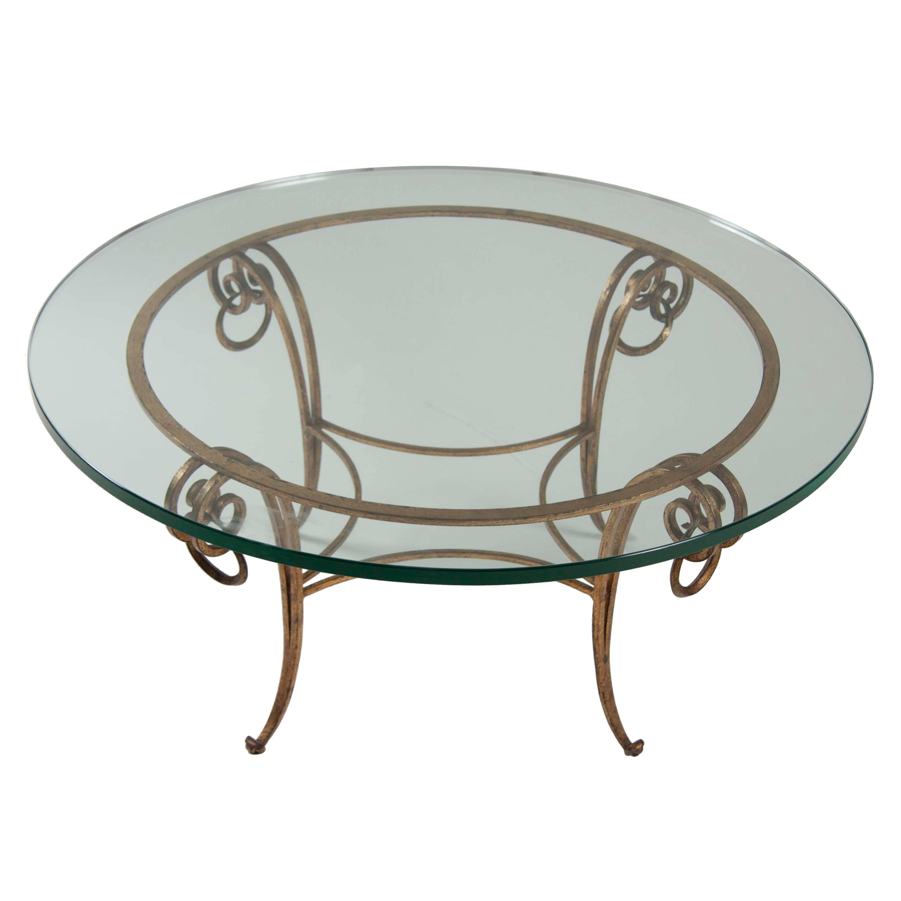 Gilt Iron Coffee Table in the Manner of Rene Drouet