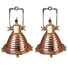 Pair of Mid-Century, Copper and Brass Nautical Ship's Deck Lights
