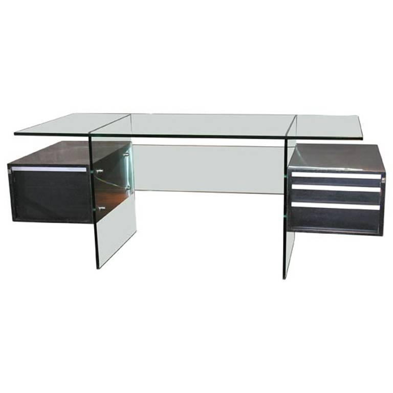Xavier Marbeau 1970s Aluminum and Glass Desk For Sale