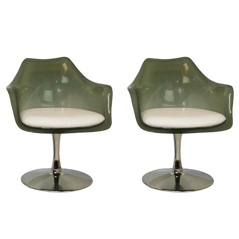 Pair of laverne style smoked lucite tulip chairs for sale at 1stdibs - Tulip chairs for sale ...