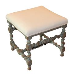 Antique Swedish Baroque Period Square Stool, 18th Century