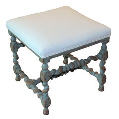 Swedish Baroque Period Square Stool, 18th Century Antique