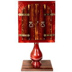 Seltener kleiner Barschrank von Aldo Tura aus rotem Ziegenleder