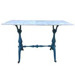 French Marble Top Iron Baluster Form Table, circa 1910