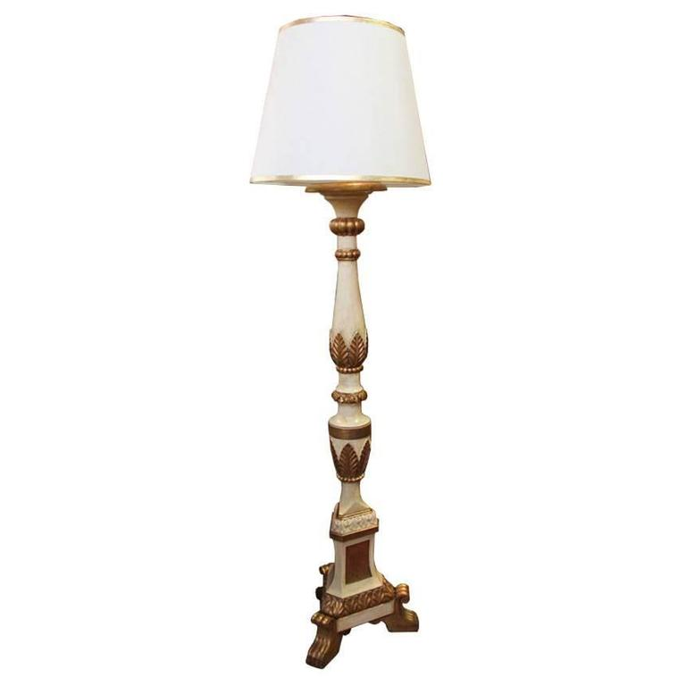An Italian Style Polychrome and Parcel-Gilt Torchère Floor Lamp 1