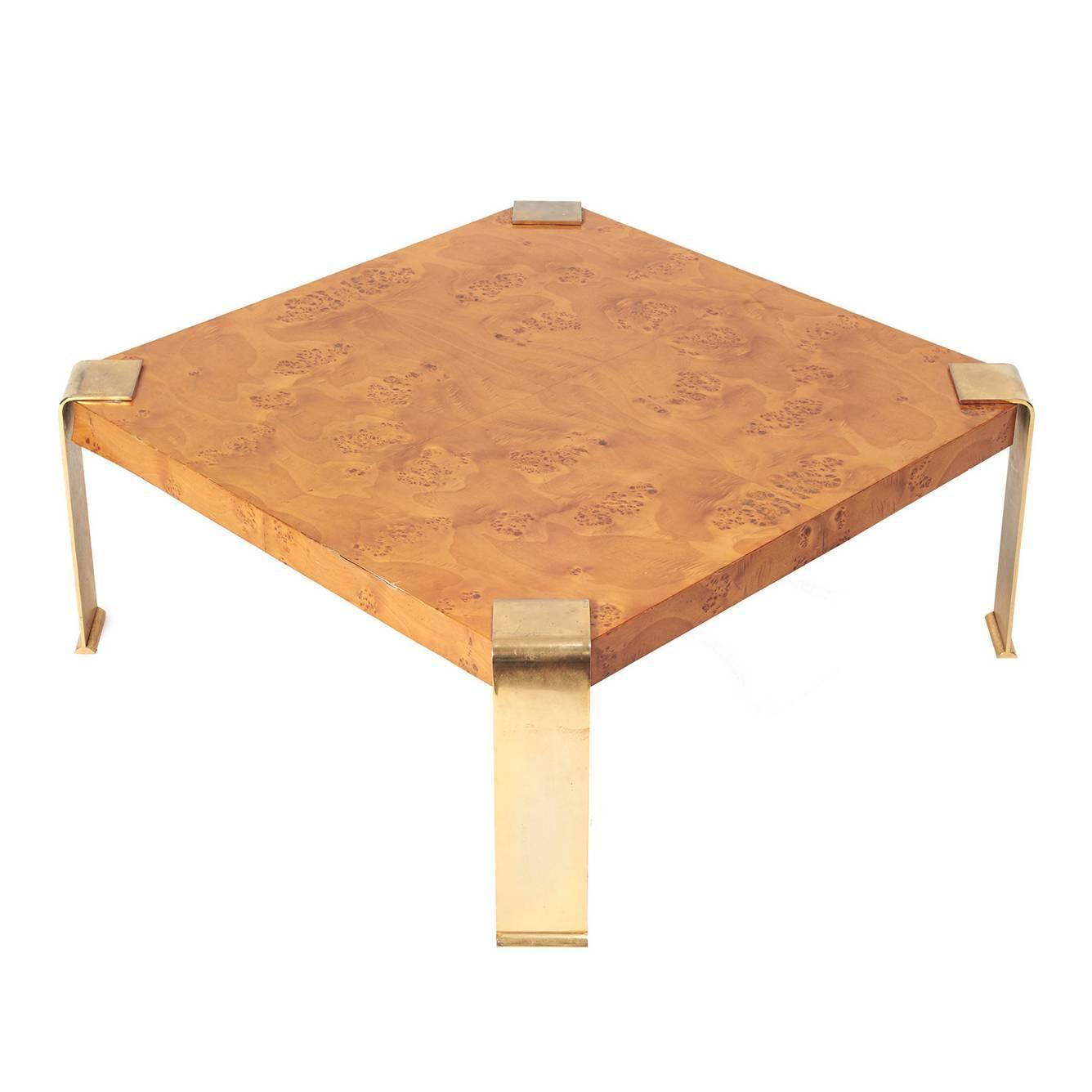 Burl Coffee Table With Brass Legs For Sale At 1stdibs