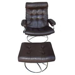 Ekornes Stressless Chair and Ottoman, 1972