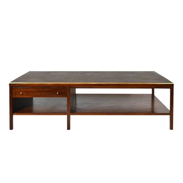 paul mccobb leather top coffee table calvin group at 1stdibs