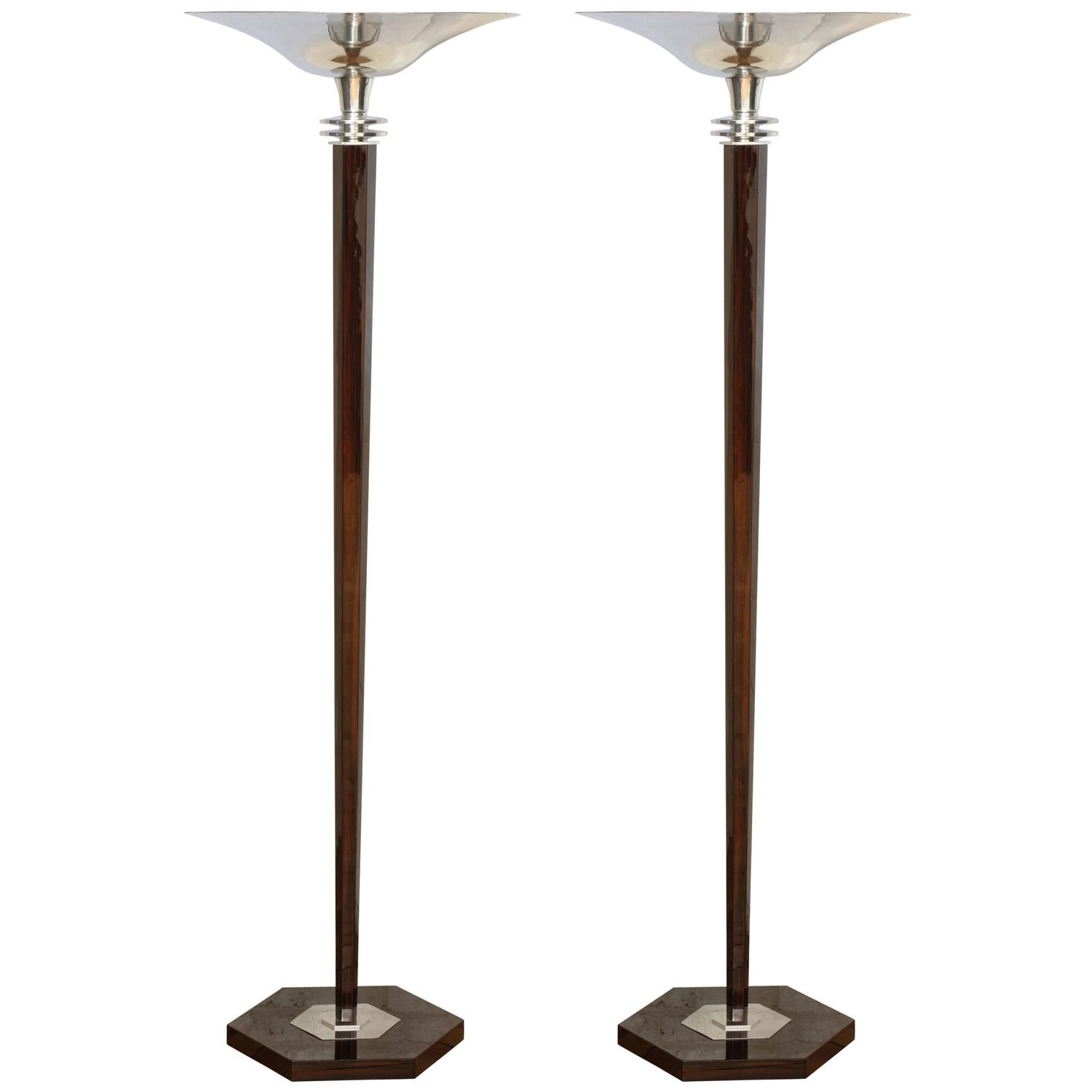 Elegant art deco torchiere floor lamp at 1stdibs for Floor lamp vs torchiere