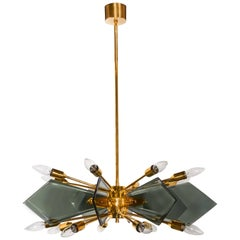 Mid-Century Starburst Chandelier in the Style of Fontana Arte