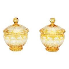 Pair of Bohemian Amber Crystal Cut to Clear Covered Jars