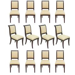 Set of 12 British Colonial Mahogany Dining Chairs Upholstered in Madagascar
