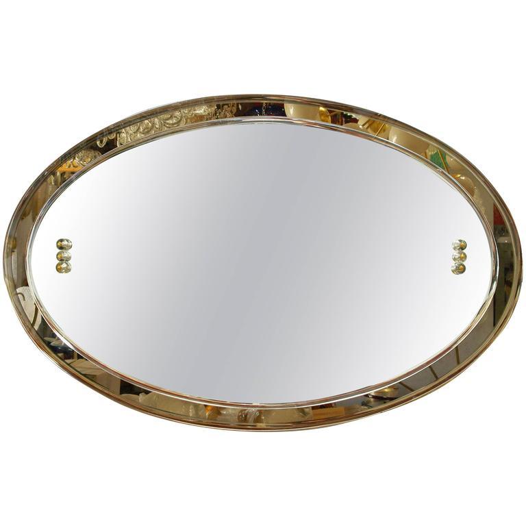 Mid Century Italian Oval Beveled Smoky Mirror