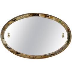 Italienischer Abgeschrägter Spiegel in Rauchiger Optik Mid-Century