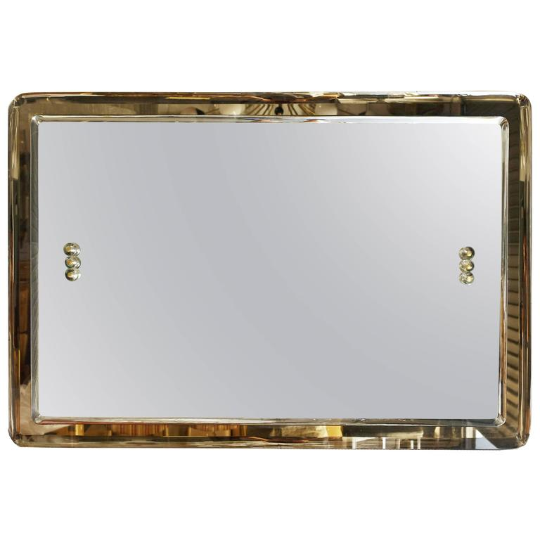 Mid-Century Italian Rectangular Beveled Smoky Mirror