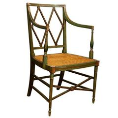 English Regency Era Painted Wood Armchair