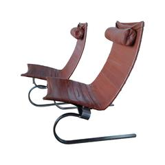Pair of PK 20 Leather Lounge Chairs by Poul Kjærholm for E. Kold Christensen