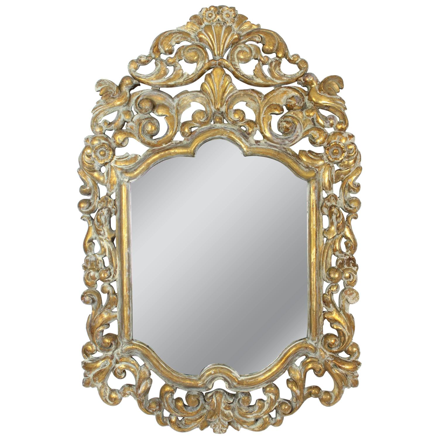 19th century spanish rococo style giltwood mirror with for White baroque style mirror