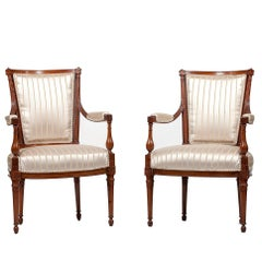 Pair of French Directoire Fauteuil Armchairs