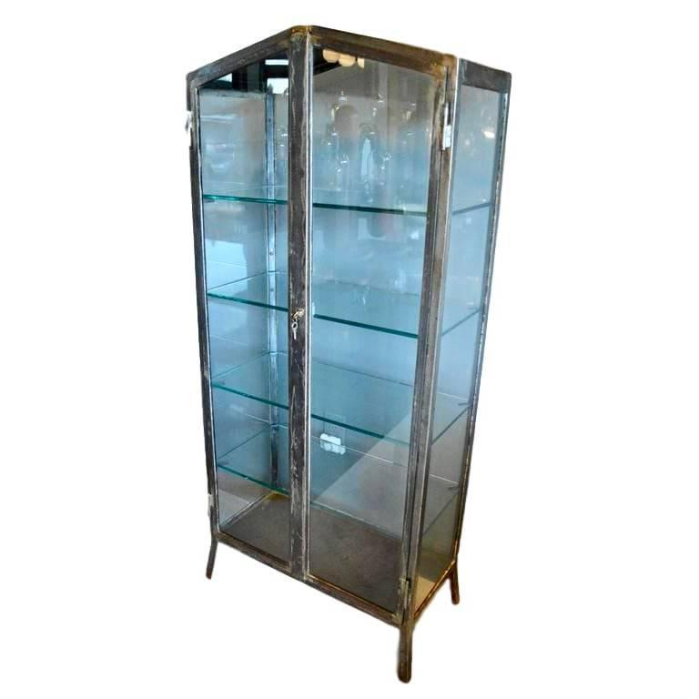1930s Iron and Glass Vitrine For Sale