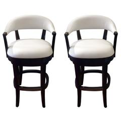 Pair of Luxurious Palecek Faux Leather and Ebonized Bar Stools