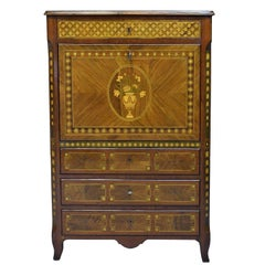 Spanish Charles IV Secretary with Contrasting Marquetry over Mahogany, c. 1800