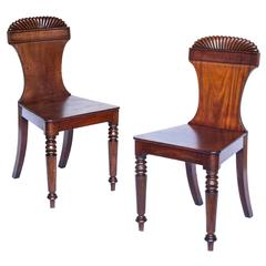 Fine 19th Century Pair of English Regency Hall Chairs, c. 1820