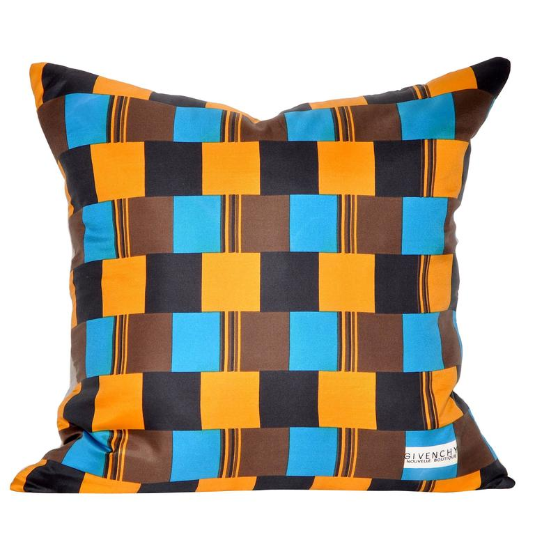 Vintage Givenchy Blue and Orange Silk Scarf with Irish Linen Cushion Pillow 1