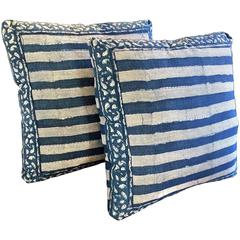 19th Century Pair of Indigo Batik Pillows