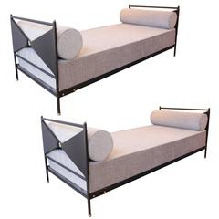Jacques Adnet 1950's Pair of Black Leather Daybeds