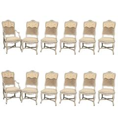 Spectacular Set of 12 Maison Jansen Style Cote, France, Dining Chair